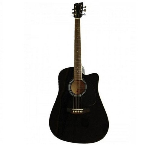 Pluto HW39C 201 Medium Cutaway Acoustic Guitar Black